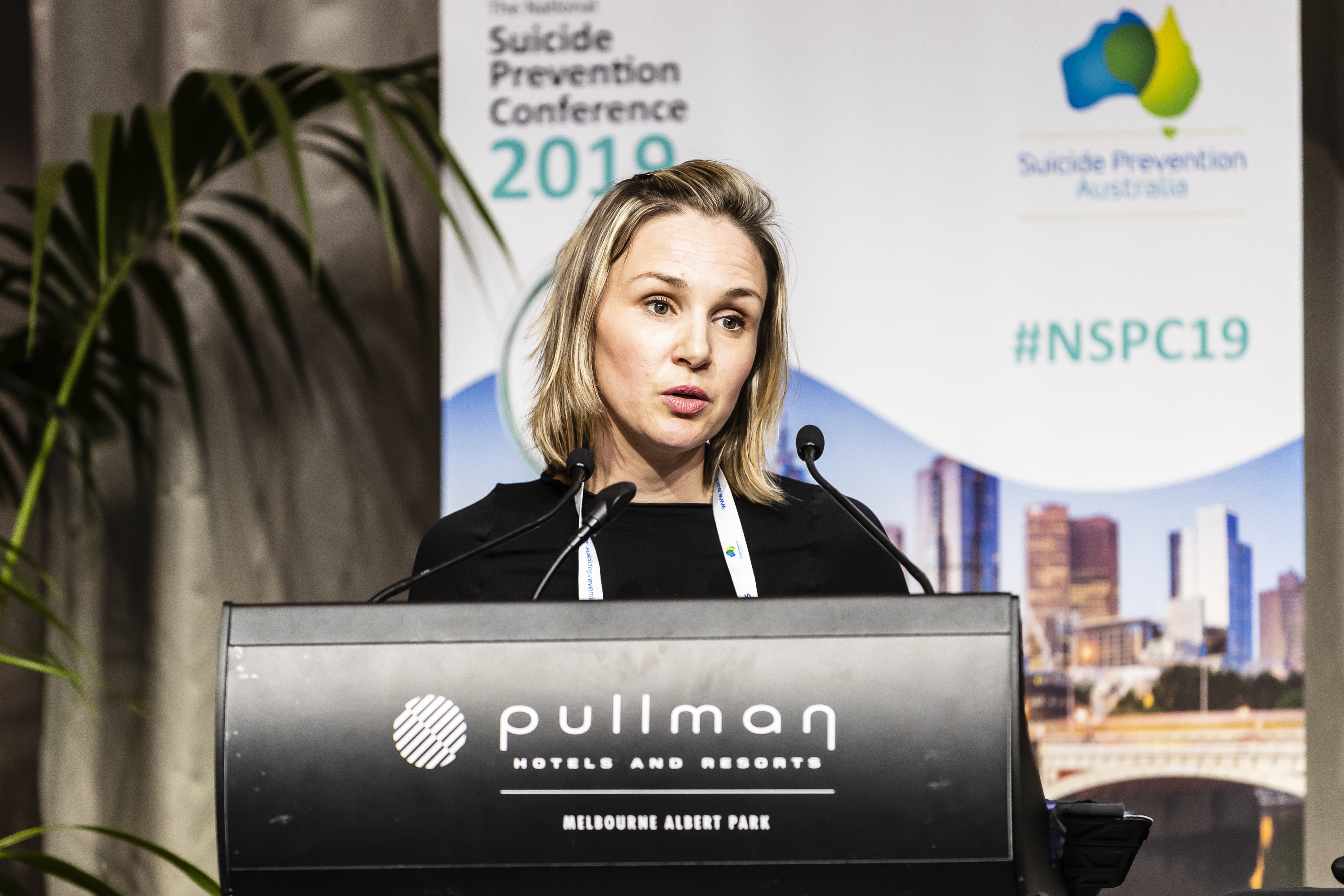 Allison Milner presenting at Suicide Prevention Conference 2019