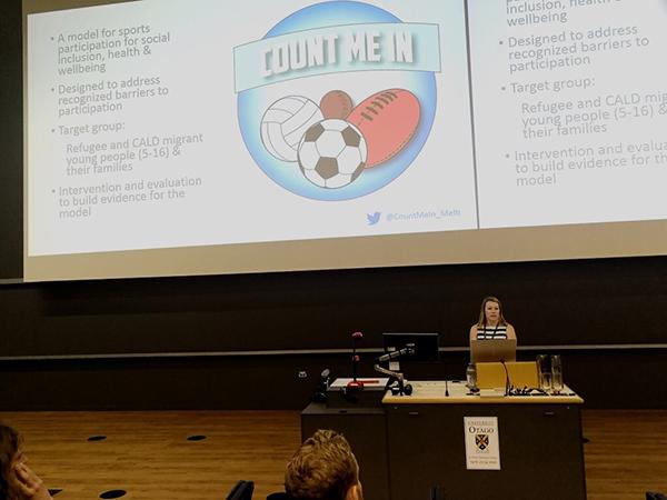 Dana presenting in Dunedin