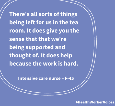 There's all sorts of things being left for us in the tea room. It does give you the sense that that we're being supported and thought of. It does help because the work is hard. Quote from Female aged 45, Intensive Care Nurse. Image created by the Health Worker Voices project