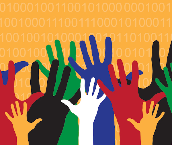 Illustration of coloured hands reaching up in front of an orange background with binary digits