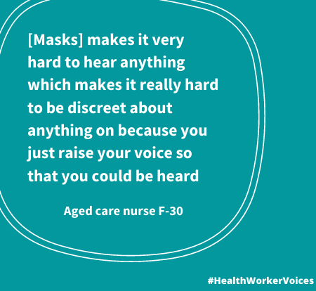 [Masks] makes it very hard to hear anything which makes it really hard to be discreet about anything on because you just raise your voice so that you could be heard Quote from Female aged 30, Aged Care Nurse. Image created by the Health Worker Voices project: