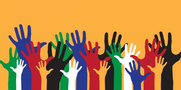 Illustration of coloured hands reaching up against an orange background