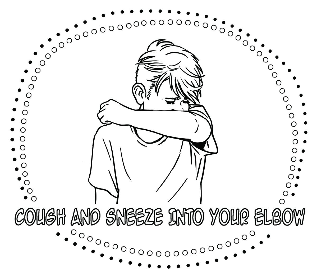 sample of cough into elbow colouring sheet