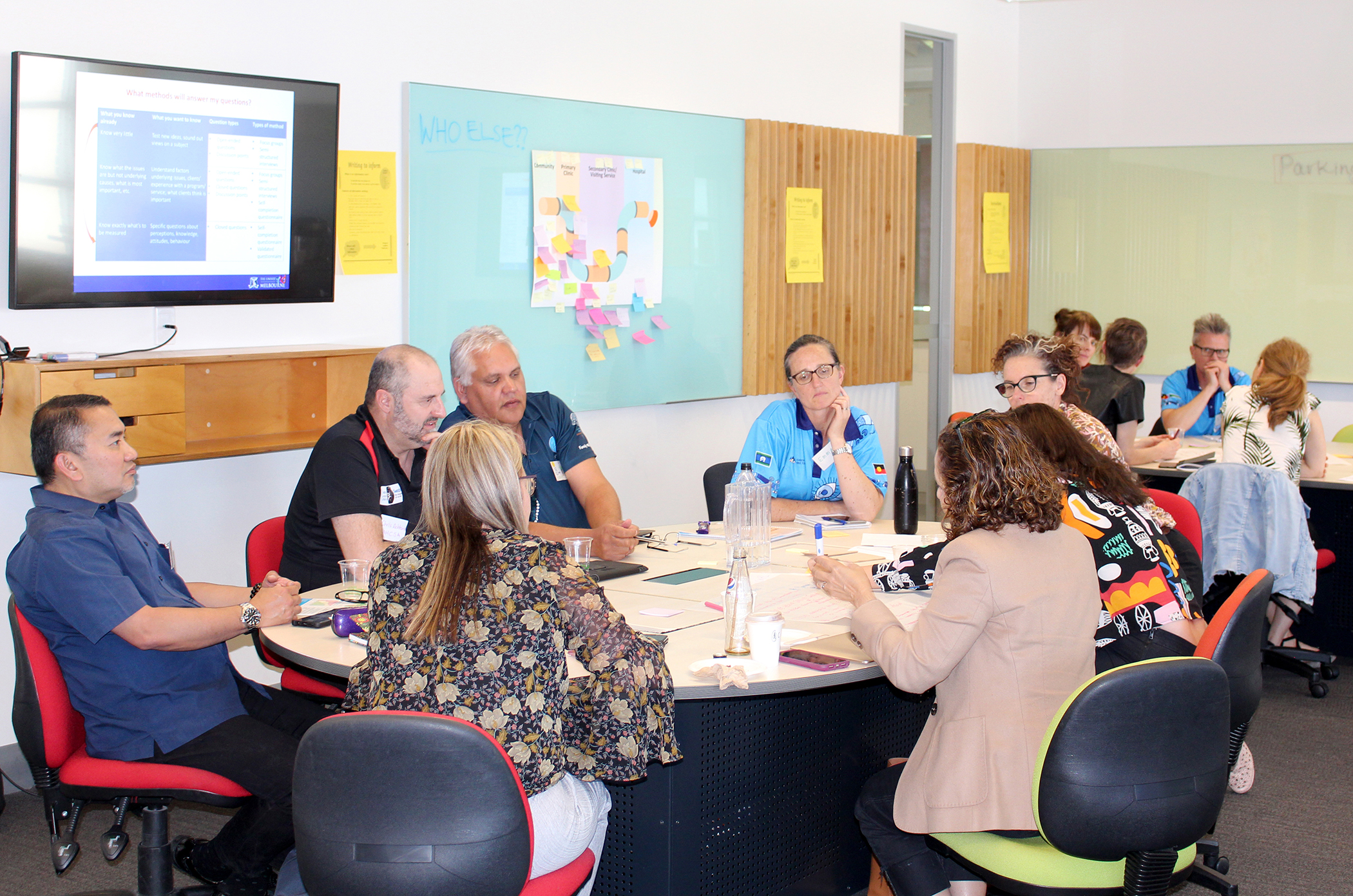 participants in discussion around a table