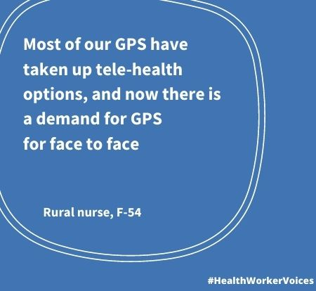 Most of our GPS have taken up tele-health options, and now there is a demand for GPs for face to face. Quote from Female aged 54, Rural Nurse. Image created by the Health Worker Voices project