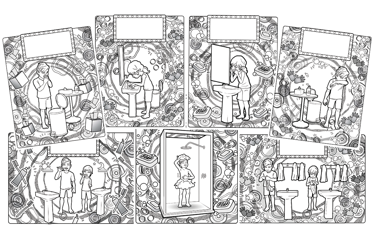 image showing 7 different black and white colouring sheets depicting the actions to stop germs