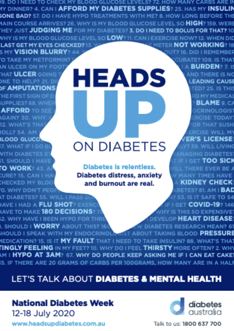 The poster for National Diabetes Week 2020 'Heads Up' campaign