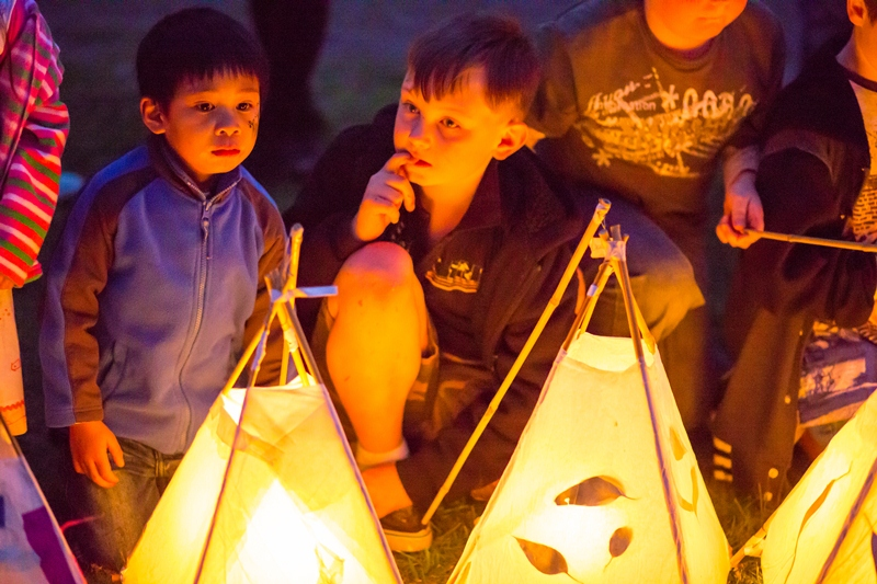 Children waiting to carry their lanterns in the parade. INTO THE LIGHT - Between land and Sky 2013