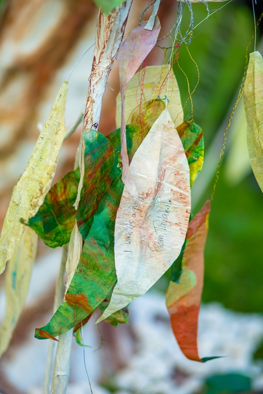 The leaves of spring carrying the hopes, dreams, wishes of the community. Made in a community workshop at Whittlesea Community House for INTO THE LIGHT: The Unfolding Story 2012.