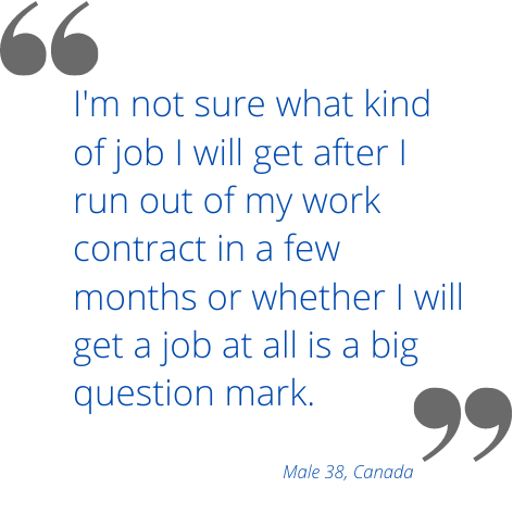 I'm not sure what kind of job I will get after I run out of my work contract in a few months or whether I will get a job at all is a big question mark.