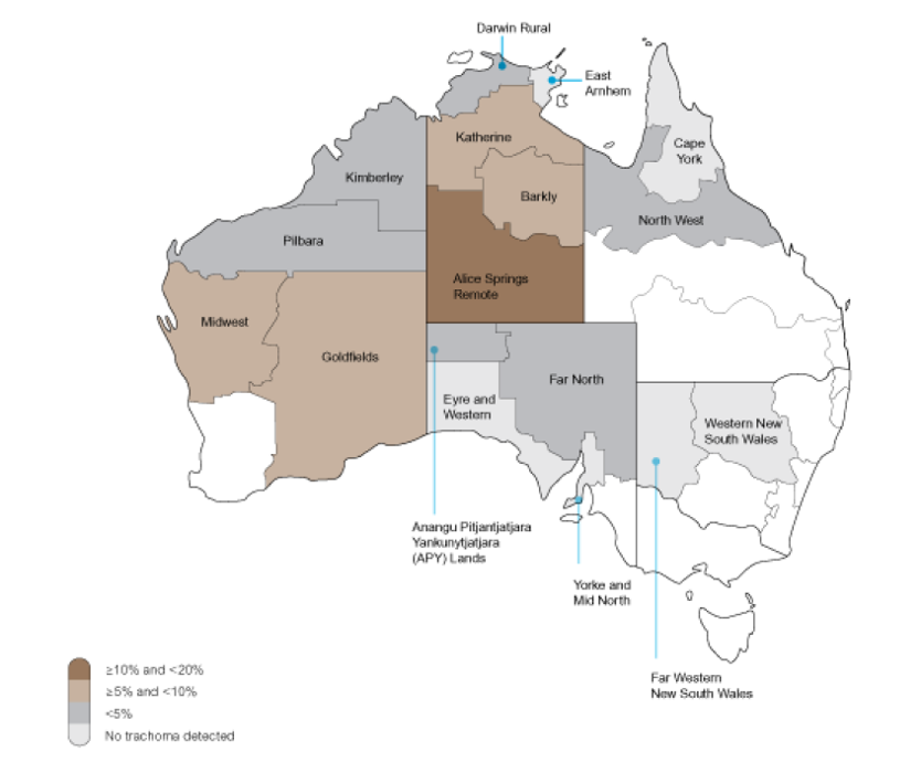 map of Australia showing trachoma hot spots