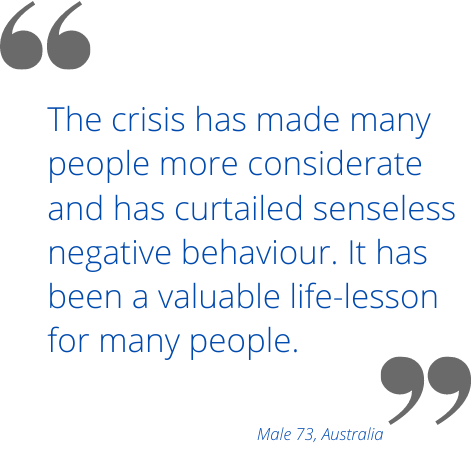 The crisis has made many people more considerate and has curtailed senseless negative behaviour. It has been a valuable life-lesson for many people.