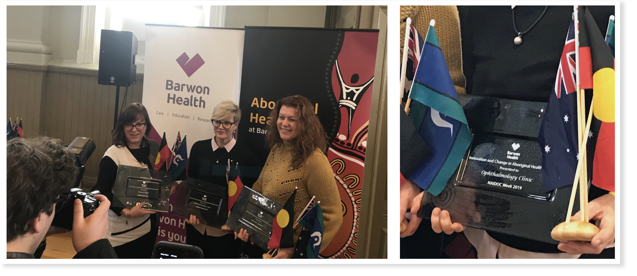 Barwon Health Ophthalmology recognised during NAIDOC Week 2019 as they receive an award for 'Innovation and Change in Aboriginal Health' for their work in improving Indigenous access to cataract surgery in the Geelong region.