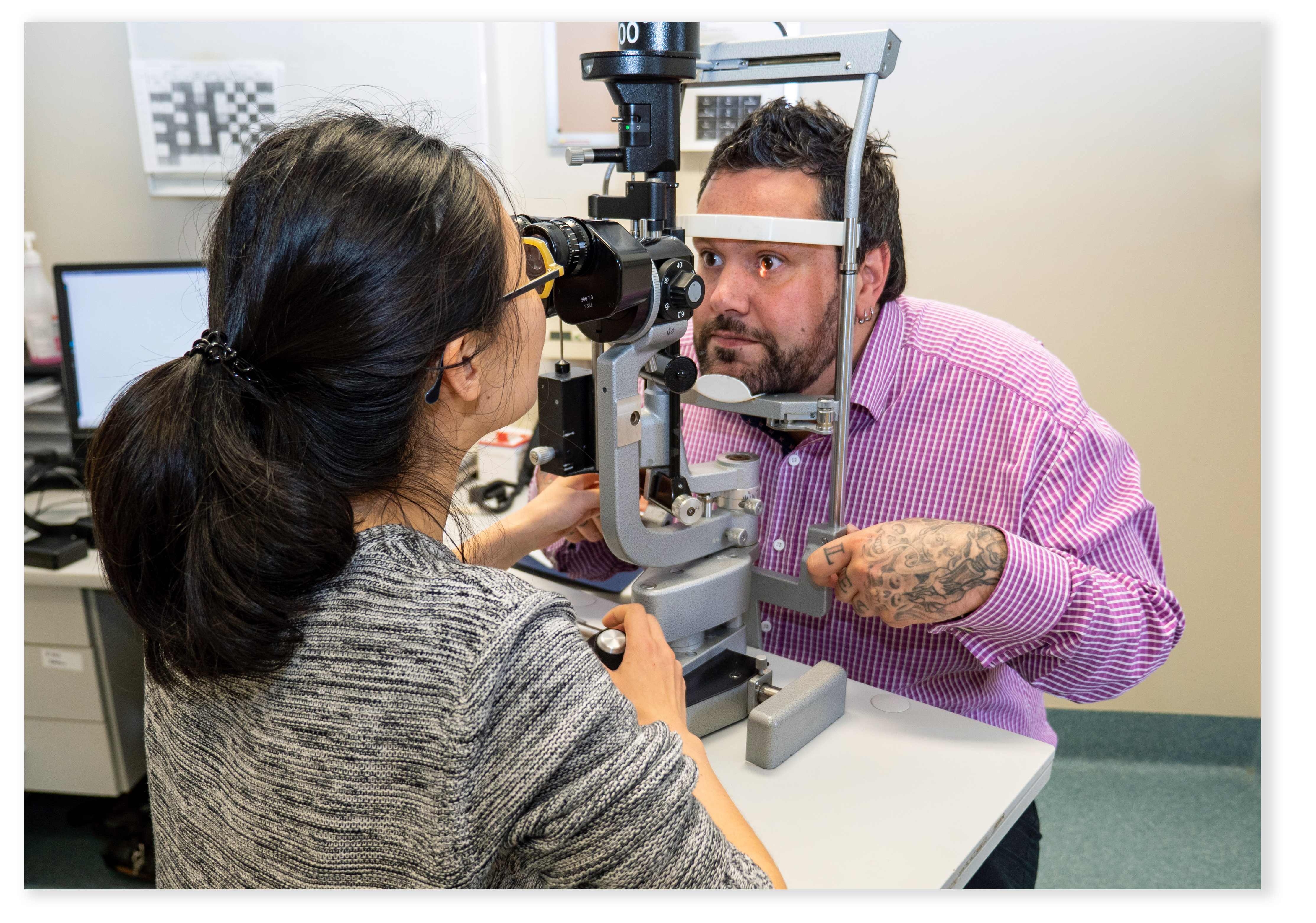patient with ophthalmologist having an eye check