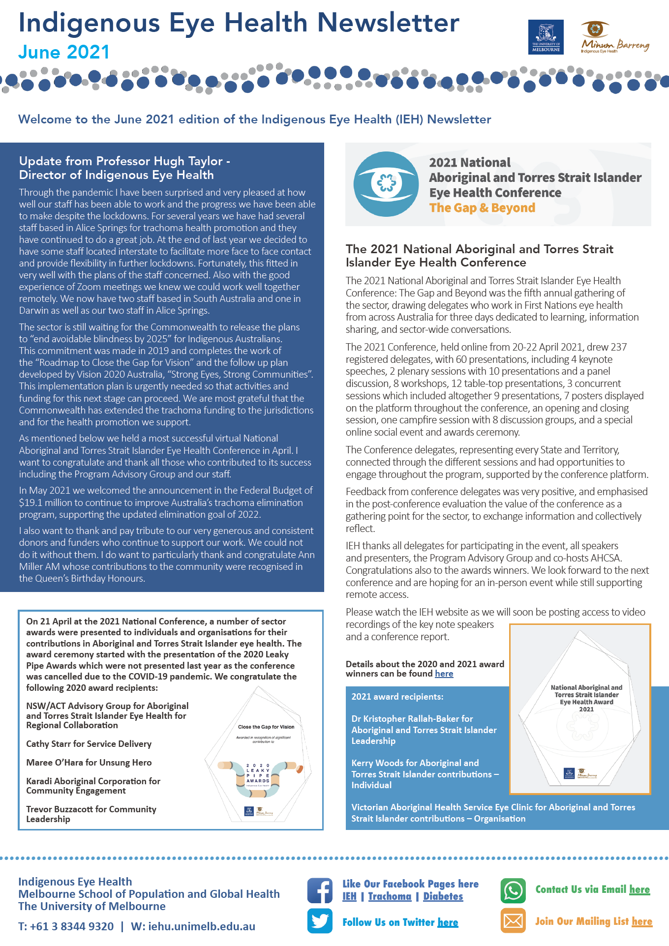 IEH june 2021 newsletter cover