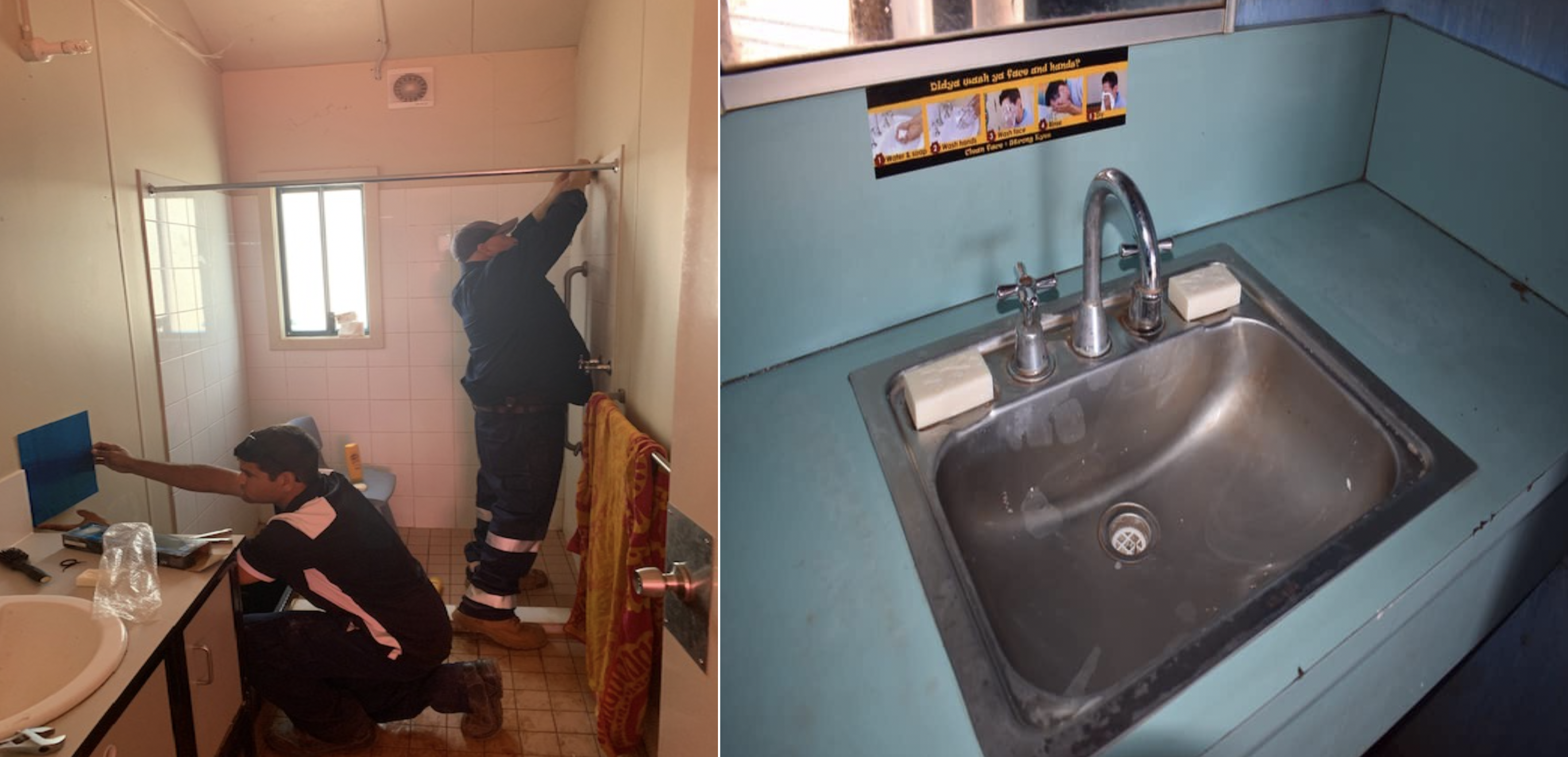 Taps being fixed and mirrors being installed