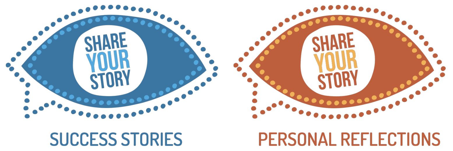 share your story and personal reflections logos side by side