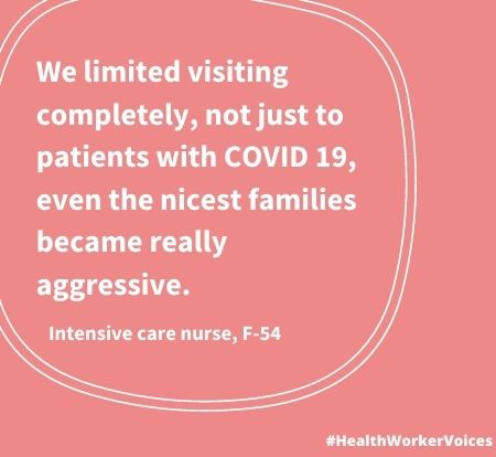 We limited visiting completely, not just to patients with COVID 19, even the nicest families became really aggressive. Quote from Female aged 54, Intensive Care Nurse. Image created by the Health Worker Voices project