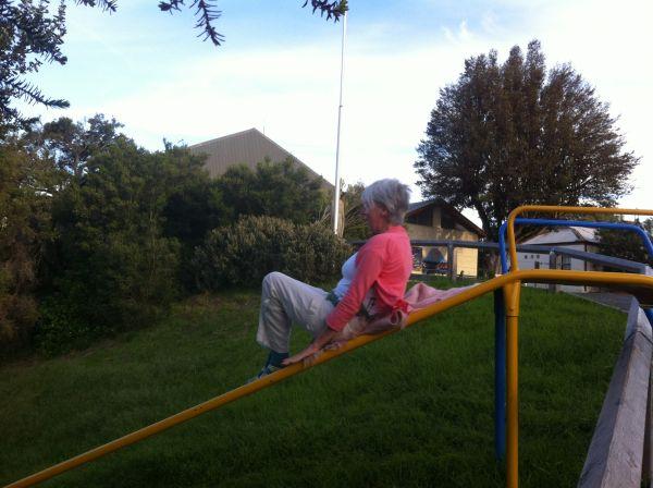 Woman on slide