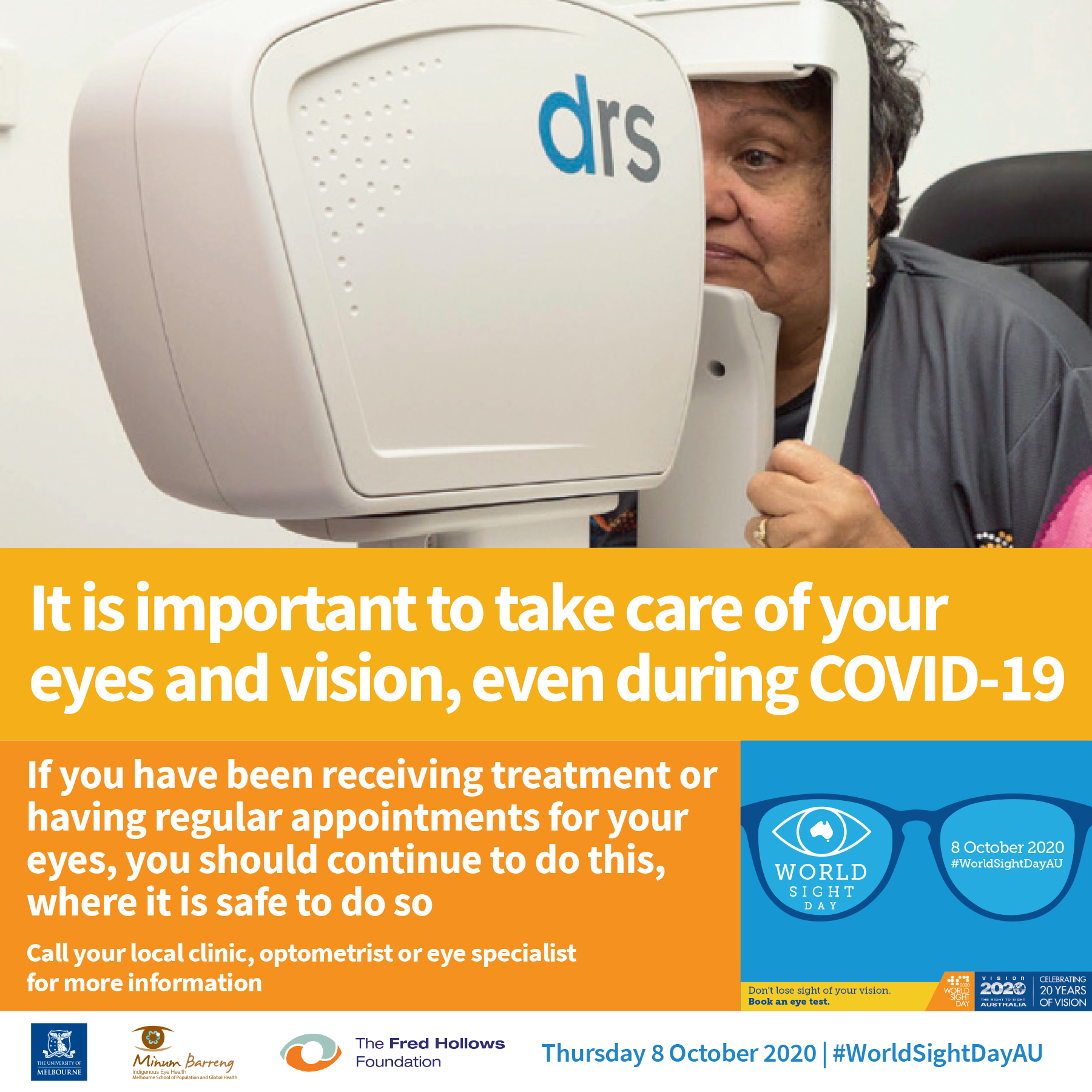 Eye check image promoting world sight day